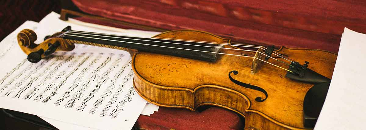 wiolin and music sheet on the violin case